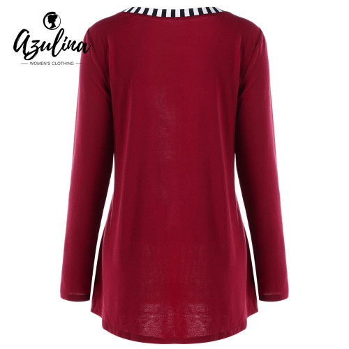 AZULINA Plus Size T-Shirt Women Ladies Tops Casual O-Neck T-Shirts Long Sleeve Striped Buttons Floral Top Pullover Big Size 5XL