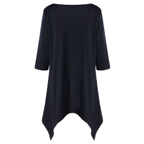 Gamiss Tops Tees Plus Size Polka Dot Trim Tunic T-Shirt Women Fashion Scoop Neck Three Quarter T Shirts Casual Long Tops XL-5XL