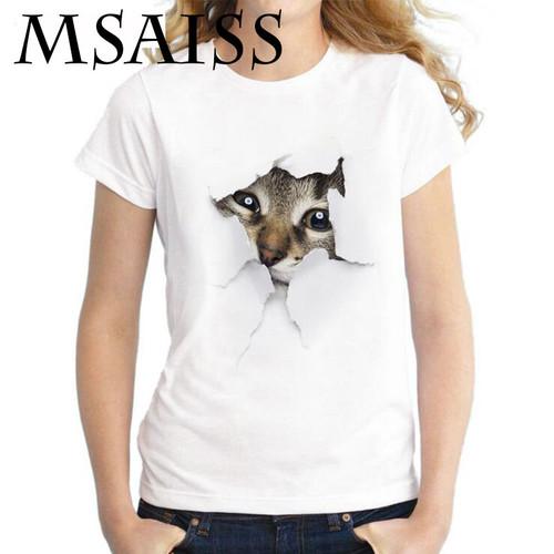 MSAISS Summer Cat 3D Lovely T Shirt Women Printing Originality O-Neck Short Sleeve T-shirt Tops Tee
