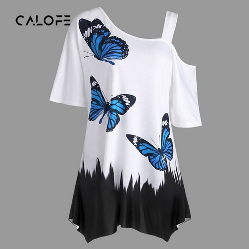 CALOFE Summer T-Shirts Women Butterfly Printed Tee One Shoulder Irregular Top Female Plus Size Loose Tee Top Streetwear
