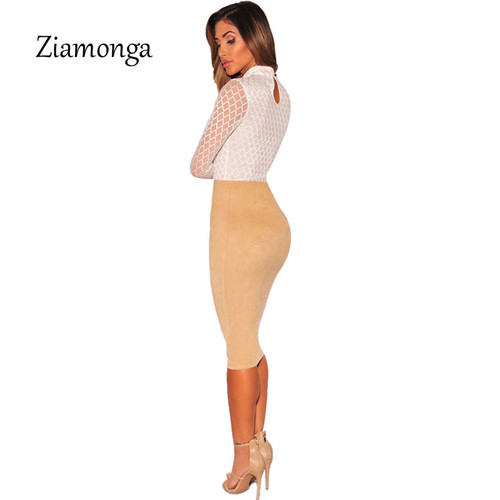 Ziamonga 2017 Brand Sexy Bodysuit Jumpsuit Romper Women Black White Hollow Long Sleeve Mesh Bodycon Jumpsuits Stretch Body Femme
