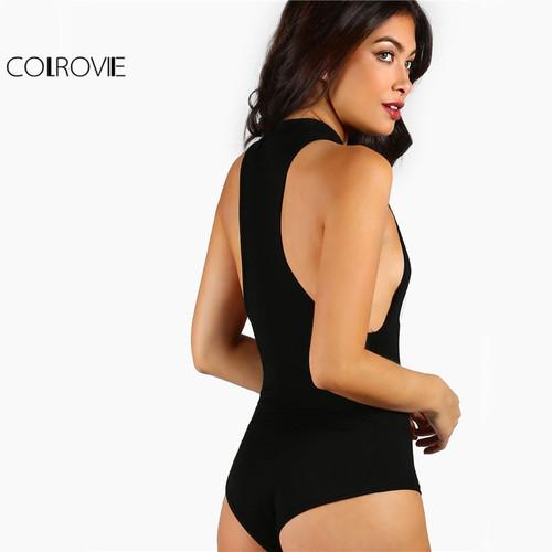 COLROVIE Mock Neck Racerback Bodysuit Black Sexy Skinny Women Letter Print Slim Bodysuits 2017 Summer Sleeveless Brief Bodysuit