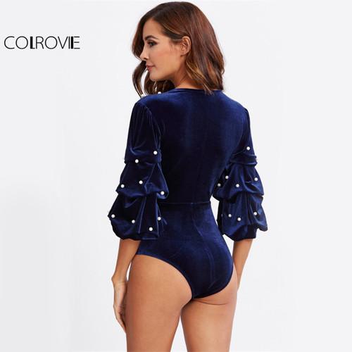 COLROVIE Pearl Beading Elegant Velvet Bodysuit Women Gathered Sleeve Blue Bodysuits 2017 Autumn Deep V Neck 3/4 Sleeve Bodysuit