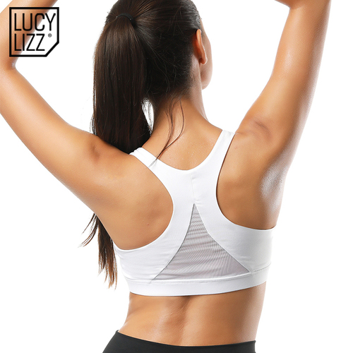 Lucylizz Back Mesh Triangle Push Up Sports Bra Top Fitness Racerback Bras Women Gym Sport Top Padded Yoga Bras Running Underwear