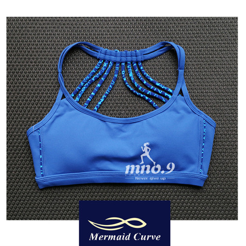 Mermaid Curve Gym Fitness Professional Women Sports bra Push Up Bras Padded Exercise Yoga Camouflage strap Sexy Back ladies bras