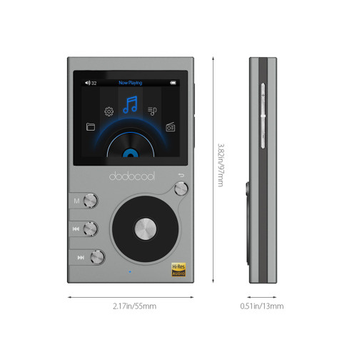 "dodocool Hi-res 8GB Mp3 Player Hi-Fi Lossless Music Player with Radio Recorder FM Radio 2"" LCD Display Support TF Card"