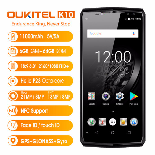"""Original OUKITEL K10 4G Mobile Phones Android 7.0 6GB+64GB Helio P23 Octa Core Smartphone 11000mAh Battery 6.0"""" FHD Cell Phone"""