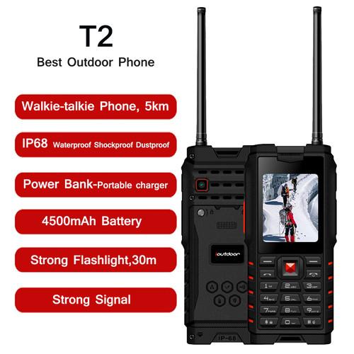 "XGODY ioutdoor T2 Rugged Phone IP68 Walkie-talkie Intercom 4500mAh Power Bank Strong Flashlight 2.4"" GSM Waterproof Cell Phone"