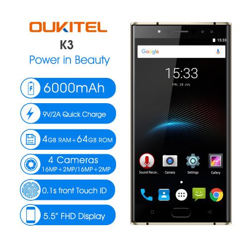 Original 6000mAh OUKITEL K3 4 Cameras 4G Smartphone MTK6750T Octa-Core Android 7.0 4GB+64GB 16.0MP+2.0MP 5.5inch Mobile Phone
