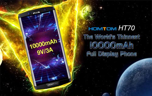 "HOMTOM HT70 6.0"" HD+ 18:9 Screen Mobile Phone MTK6750T Octa Core 4G RAM 64G ROM 10000mAh Battery 16MP+5MP Dual Cam 4G Smartphone"