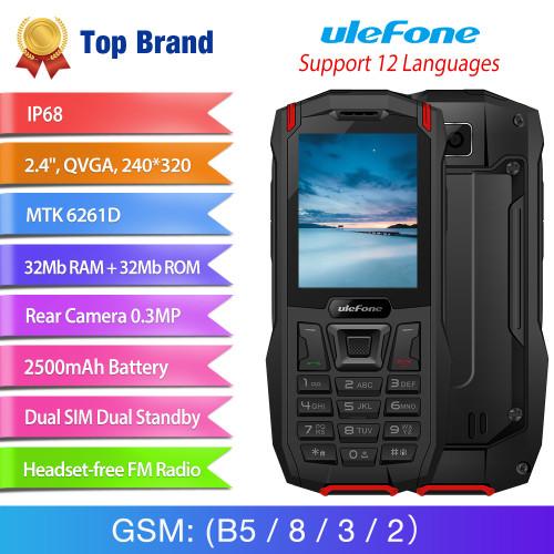 "Ulefone Armor Mini Waterproof IP68 Outdoor Adventures Phone 2.4"" MTK6261D Wireless FM Radio 2500mAh 0.3MP Dual SIM Rugged Phone"