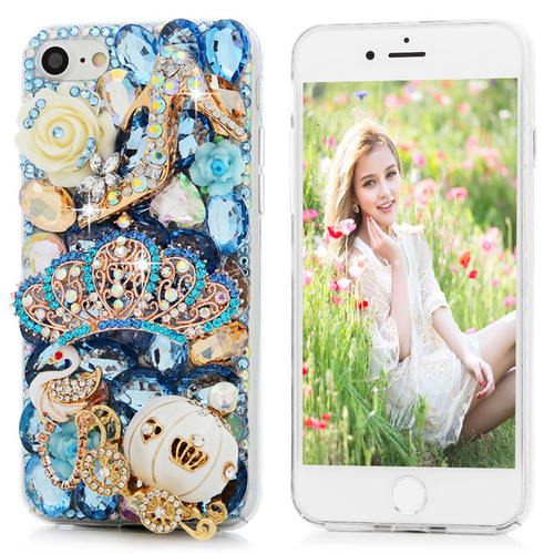 3D Handmade Diamond Case For iPhone 7 8 Luxury Bling Shiny Rhinestone Glitter Crystal Clear Hard PC Back Cover For iPhone7
