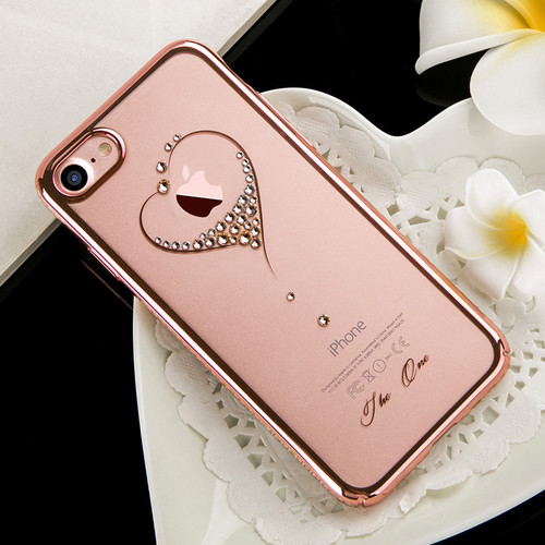 KINGXBAR Capa for iPhone 7 8 Plus Cover Crystals From Swarovski Diamond Flower Transparent Hard Case for iPhone 8 7 Plus Case