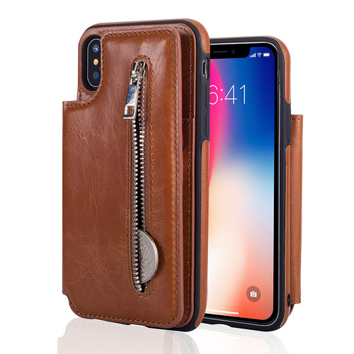 Fashion Flip Leather Case for iPhone X Card Slot Stand Zipper Wallet Case for iPhone 6 6S 7 8 Plus Cover for Samsung S8 Note 8