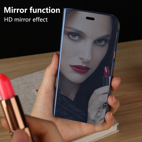 Smart Leather Flip Stand Mirror Case for Huawei Mate 8 9 10 Pro Lite P8 P9 P10 Plus for iPhone X 7 8 6 6s Plus Clear View Window