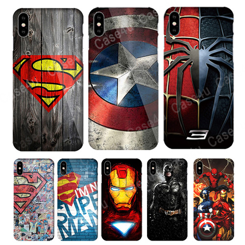 Marvel Captain America Shield Superhero Case Cover for iPhone X 7 8 Plus 6 6s iPhoneX iron Man Spiderman Case Comic accessories