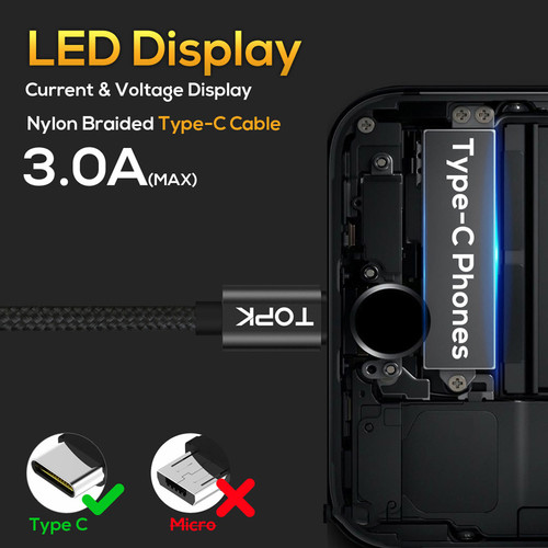 TOPK DLine1 USB Type C Cable Voltage and Current Display Nylon Braided Fast Charging Type-C Cable For Samsung S9 Note 8 USB C