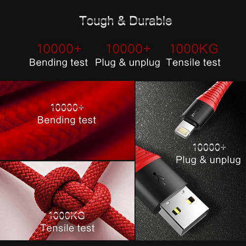 Hi-Tensile USB Cable for iPhone 8 7 6 plus 5s, ROCK 2.1A Data Sync USB Cable for iPhone X 7 6s plus for iPhone charger Cable