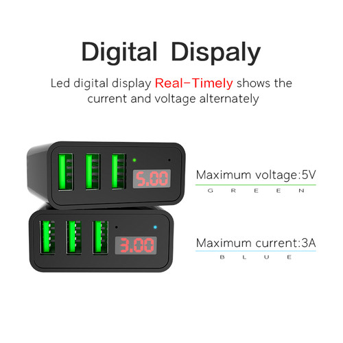 Usb charger 15W 3 port LED Display Mobile Phone charger Adapter for iPhone Samsung S8 Plug Wall Travel EU US Smart Fast Chargers