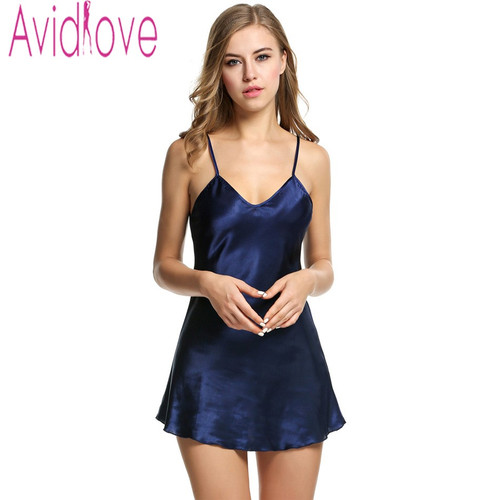 Avidlove Stain Nightgown Women Slik Sleepwear Sexy Night Dress V Neck Strap Solid Nightwear Sleep Dress Female Home Clothes