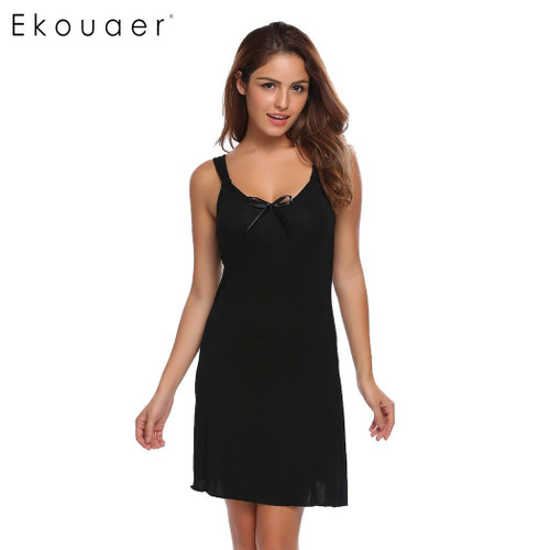 Ekouaer Fashion Slim Nightwear Women Spaghetti Strap Sleeveless Solid Nighties Sleepwear Summer Casual Bow Sleepwear