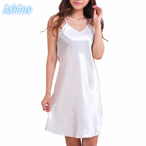 Satin Silk Nightwear Women Nightgowns Sexy V-neck Sleepwear Sleeping Dress Red Nightdress 2018 Summer Pijamas Night Dress White