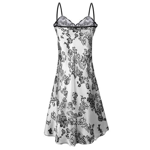 2017 Summer Satin Silk Lace Sleeping Dress Nightgown Women Spaghetti Strap Night Dress Pijama Slits Printed Mini Dresses
