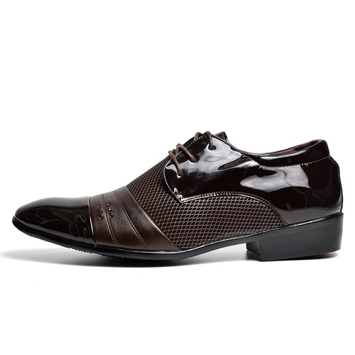 COSIDRAM Hollow Outs Breathable Men Formal Shoes Pointed Toe Patent Leather Oxford Shoes For Men Dress Shoes Business RME-303