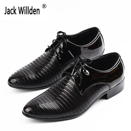 New Fashion Men's Lace-Up Oxfords Dress Shoes Mens PU Leather Business Office Wedding Flats Man Casual Party Driving Shoes