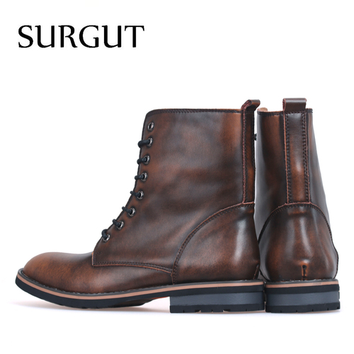 SURGUT Men Motorcycle Boots Vintage Combat Boot Winter Fur 2018 New Cow Split Leather Waterproof Buckle Military Boots Men Shoes