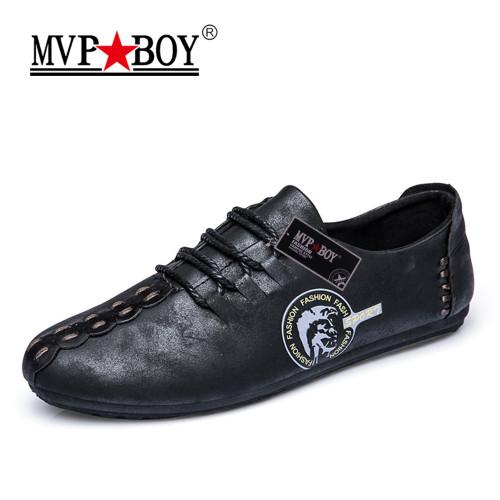 MVP BOY 2018 New Comfortable Casual Shoes Loafers Men Shoes Quality Split Leather Shoes Men Flats Hot Sale Moccasins Shoes