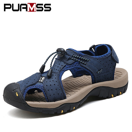 Men Sandals Genuine Leather Cowhide Male Summer Shoes Outdoor Beach Slippers Casual Suede Leather Gladiator Sandals Plus Size 48