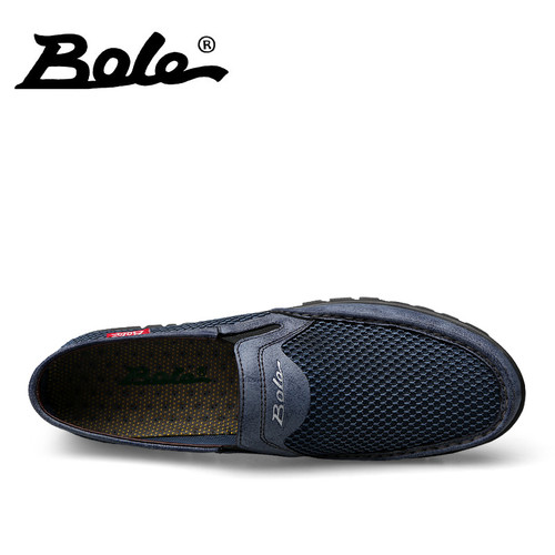 BOLE Summer Mesh Breathable Shoes Large Size 36-47 Men Light Weight Casual Shoes Rubber Sole Non-slip Flats Slip on Shoes