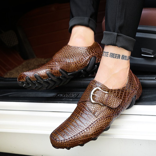 Brand Men Loafers Spring and Autumn Men Casual Shoes Genuine Leather Driving Shoes Crocodile Texture Men's Flats Shoes Plus Size