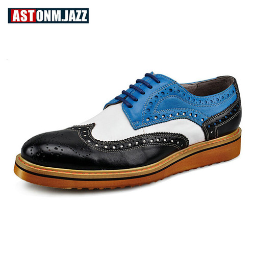 Men's Casual Genuine Leather Oxfords Shoes Lace-up Pointed Toe Dress Shoes Mixed Color Wedding Shoes Office Career Brogues Shoes