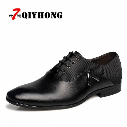 QIYHONG Brand Big Size 38-47 New Fashion Men Wedding Dress Shoes Black Shoes Round Toe Flat Business British Lace-up Men's Shoes