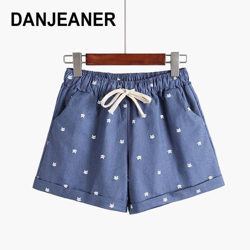 2017 Brand New Summer Women Casual Elastic Waist Cotton Shorts Printed Cat Drawstring Slim Shorts Candy Colors Women Shorts