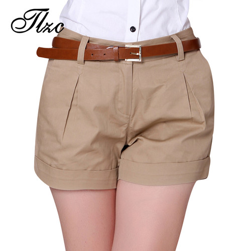 TLZC Korea Summer Woman Cotton Shorts Size S-3XL New Fashion Design Lady Casual Short Trousers Solid Color Khaki / White
