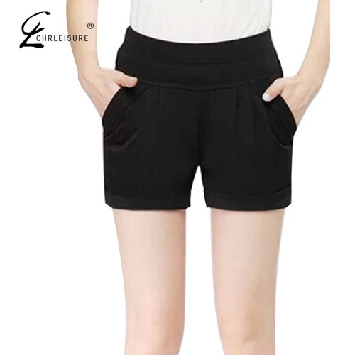 CHLEISURE S-3XL Summer Plus Size Black Shorts Harem Casual High Waist Short Femme Elastic Waist Loose Solid Short Women