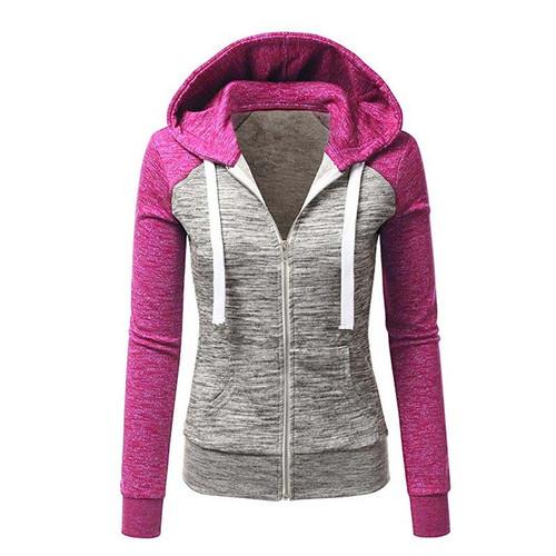 2018 Women Hoodies Sweatshirts Long Sleeve Hoody ladies Zipper Pocket Patchwork Womens Hoodie Sweatshirt Woman Baseball Jacket