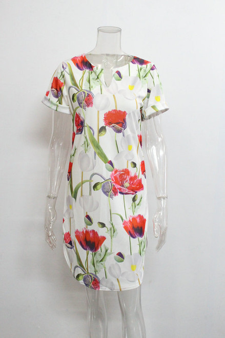 2018 Spring Summer Printed Women Dress O-Neck Hem Side Split Ladies Dresses Tie Sashes Short Sleeve Casual Sexy Female Vestidos
