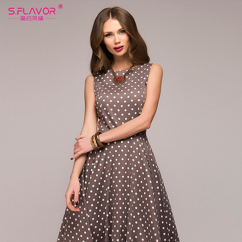 S.FLAVOR Vintage dress 2018 Summer New sleeveless O-neck vestidos Women elegant thin dot printing Mid-Calf casual dress Female