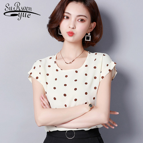 fashion 2018 chiffon women blouse shirt summer short sleeve print women's clothing plus size o-neck ladies tops blusas D572 30