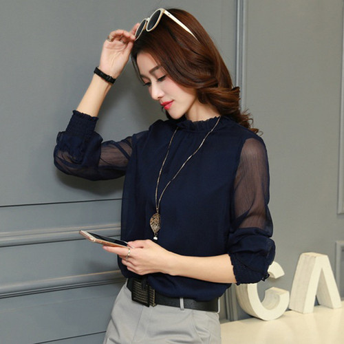 Chiffon Blouse 2018 New Women Tops Long Sleeve Stand Neck Work Wear Shirts Elegant Lady Blouses Casual Solid Color Blusas 32746