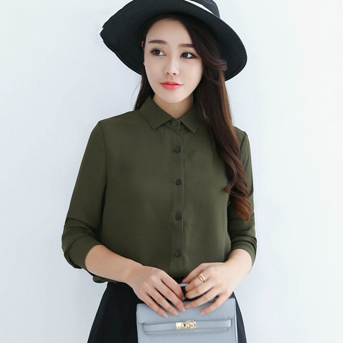 2018 Hot Sale Women Shirts Blouses Long Sleeve Turn-Down Collar Solid Ladies Chiffon Blouse Tops OL Office Style Chemise Femme