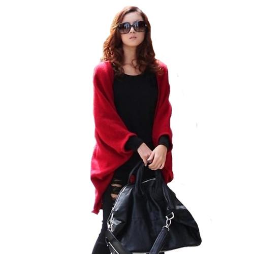 2018 Sweater Women Loose Shawl Batwing Sleeve Lady Knit Sweater Coat Woolen Women Cardigans Jacket Red/Black Women Tops Sweaters