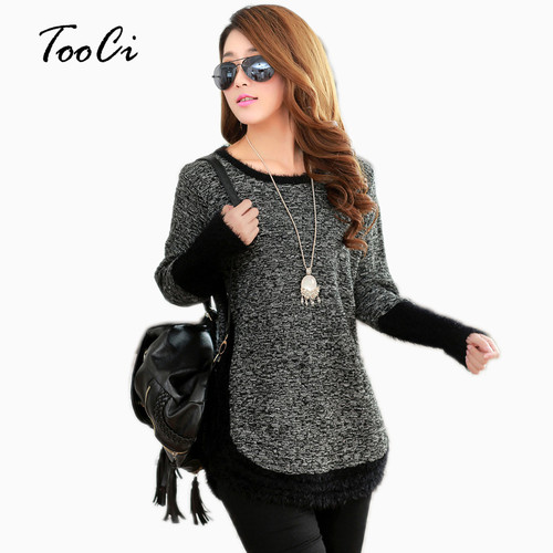 Winter Fashion Women Sweater Female  O-neck Long Sleeve Mohair Patchwork Pullover Casual Loose Sweaters Pull Femme
