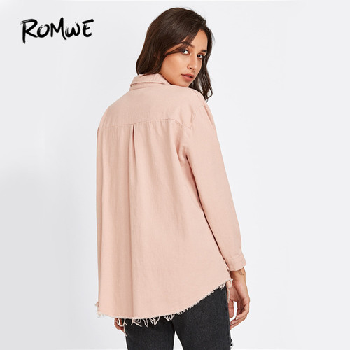 ROMWE Sweet Pink Denim Jacket Frayed Curved Hem Women Casual Long Sleeve Coat Fall 2017 Fashion Button Up Pockets Lapel Jacket