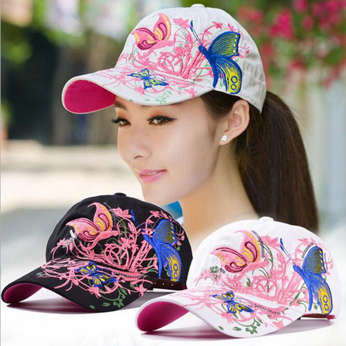 Women Butterflies Flower Embroidery Caps Women Girl Sun Hats Casual Snapback Caps Women Baseball Cap Winter Autumn
