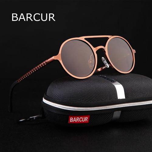 BARCUR Retro Aluminum Magnesium Sunglasses Polarized Lens Vintage Eyewear Accessories Sun Glasses Driving Men Round Sunglasses